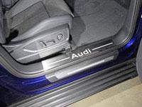 """Накладки пластиковые на пороги (нерж.лист, шлифованный, надпись """"AUDI"""", 2 шт)"""