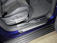 Накладки пластиковые на пороги (нерж.лист, зеркальный, логотип AUDI, 2 шт)