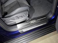 Накладки пластиковые на пороги (нерж.лист, шлифованный, логотип AUDI, 2 шт)
