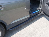 Пороги алюминиевые с пластиковой накладкой (2020мм, карбон-черный)