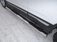 Пороги овальные с накладкой (нерж.сталь, овал.труба 120мм/60мм)
