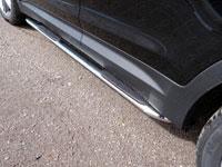 Пороги овальные гнутые с накладкой (нерж.сталь, овал.труба 75мм/42мм)