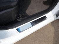 Накладки на пороги (нерж.лист, зеркальный, с логотипом)
