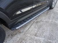 Пороги алюминиевые с пластиковой накладкой (1720мм, карбон-серебро)