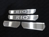 """Накладки на пороги (нерж.лист, шлифованный, надпись """"RIO"""")"""
